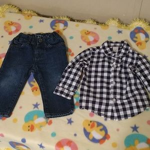 (3/$25) 6-9 months jeans and Button up Shirt